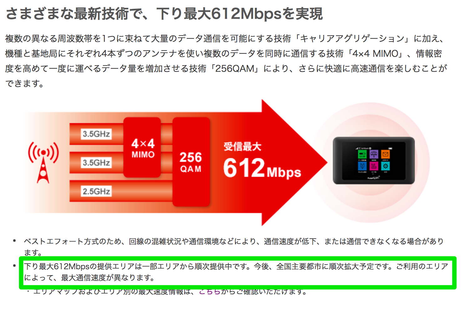 SoftBank_ポケットWiFi_通信速度612Mbps